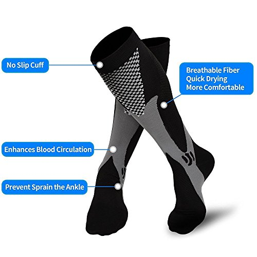 HOFAM Men, Women Graduated Compression Socks for Sports, Running, Circulation Flight Travel Nurses and Recovery, Black