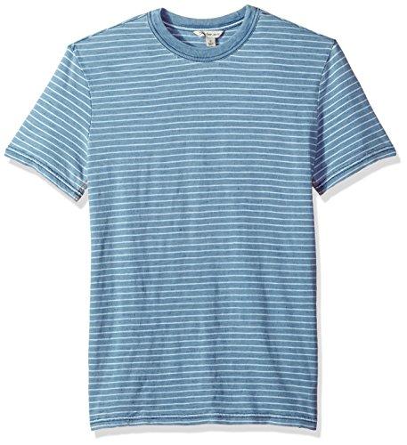 Calvin Klein Jeans Men's Short Sleeve T-Shirt Crew Neck with True Indigo Stripe, Light Indigo, L by Calvin Klein