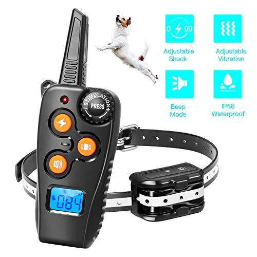 Zapuno Shock Collar for Dogs,1800ft IP68 Waterproof Shock Collar with Remote Dog Training Collar with Beep/Vibration…