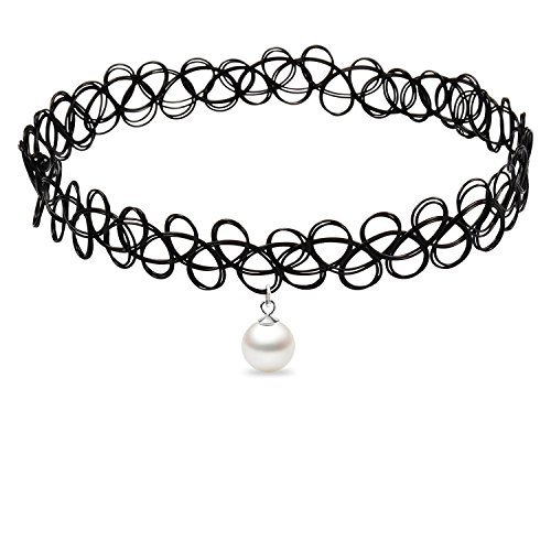 (Cozylife Girls Black Stretch Gothic Tattoo Henna Collar Choker Necklace Elastic with Seashell Pearl Pendant (White))