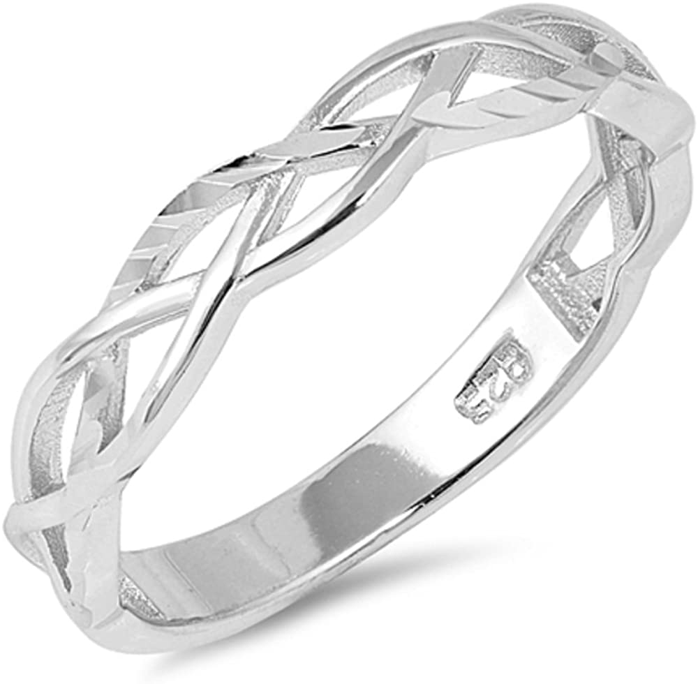 Princess Kylie 925 Sterling Silver Halfway Intertwined Design Ring