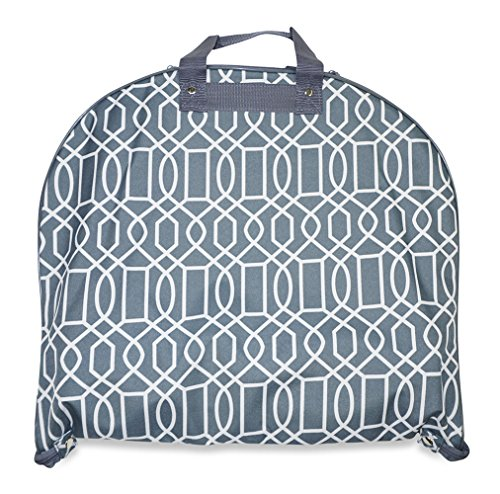 [Ever Moda Geometric Print Collection 40-inch Hanging Garment Bag (Geometric - Grey)] (Dance Costumes Uniform)