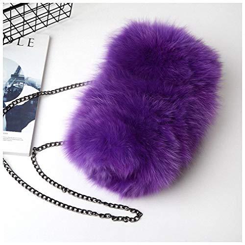 Womens Shoulder Bags Fashion Real Fox Fur Women Messenger Bag Winter New Women Chain Shoulder Bag Luxury Fur Handbag Large Lady Clutch Bag Dark Purple