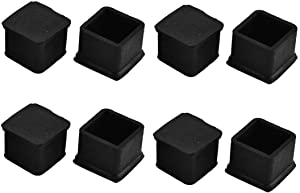 Antrader Square Rubber Covers Furniture Foot Table Chair Leg End Cap Cover Tip Protectors Black,Pack of 8 (25x25mm A)