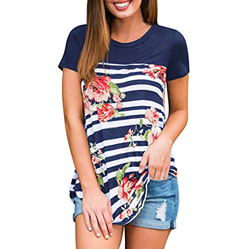 - TOTOD Womens Tops Floral T-Shirt Ladies Summer Stripe Printing Blouse Short Sleeve Casual Tunic Shirt (Navy,S)