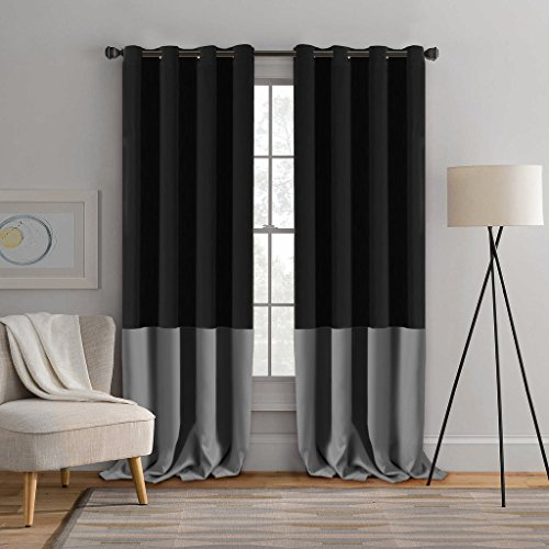 Turquoize 2 Panels Solid Blackout Drapes, Grommet/Eyelet Top Polyester Curtain, 2 x 52-Inch-by-96-Inch, Two Tones – Black & Grey