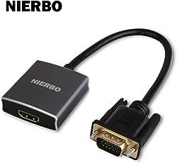 NIERBO Conversor VGA a HDMI 1080P (Macho a Hembra) Audio 3.5 mm Cable Micro USB Cable, Grey(Actualización 2)