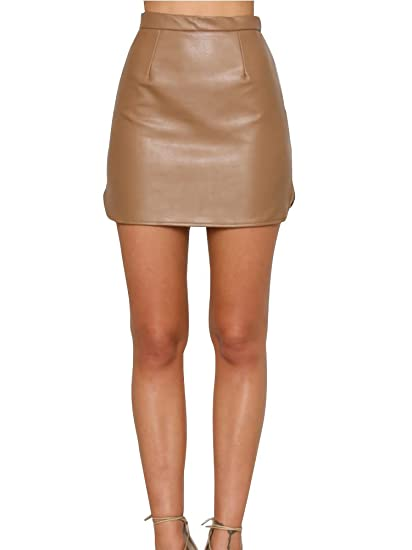 abc1cd8cec Simplee Women's Shiny High Waist Zip Up Faux Leather PU Short Skirt Brown
