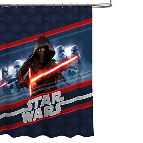 Franco Shower Curtain (Star Wars Ep7 Kylo Ren Stripe Fabric Shower Curtain 72in x 72in)