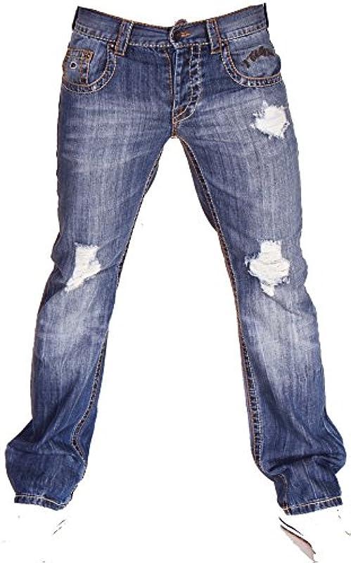 2Chilly Trance Men dżinsy męskie Destroyed Blue niebieskie średnie niebieskie Straight Cut Final Sale: Odzież
