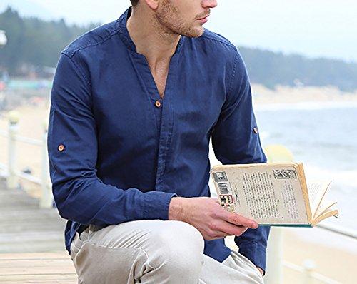 Icegrey Camicia Uomo con V Collo Camicie di Lino a Maniche Lunghe Colore Solido Camicie da Spiaggia Profondo Blu 48