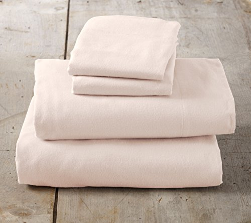 Home Fashion Designs Nordic Collection Extra Soft 100% Cotton Flannel Sheet Set. Warm, Cozy, Lightweight, Luxury Winter Bed Sheets in Solid Colors Brand. (Queen, Blush Pink)