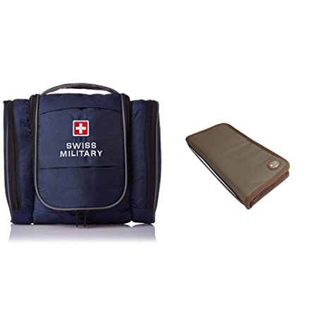 f3177f9b5a0a Swiss Military Blue Toiletry Bag + Green Unisex Passport Holder (TB-3 +  TW-2)  Amazon.in  Bags