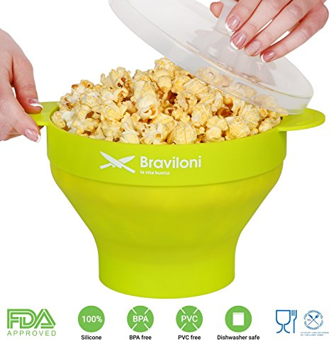 Popcorn Maker for Microwave - Green - Premium Popcorn Popper - FDA approved BPA Free Silicone Bowl with Lid - Save on Hot Air and Machine Popcorn Popper - Cook Healthy Popcorn from Kernels (Steam Bowl Microwavable compare prices)