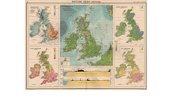 BRITISH ISLES PHYSICAL CLIMATE.Sections.Scotland//Norway,Ireland//England 1924 map