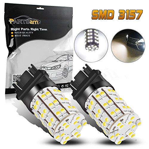 Partsam Pack2 3157 3156 4114 Xenon White Daytime Running Light DRL LED 60-3528-SMD Ultra Bright Car Led For Dodge Chevrolet -