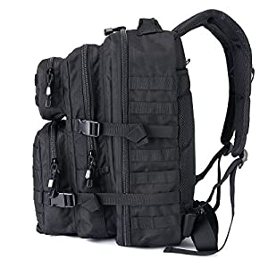 WIDEWAY Military Tactical Backpack 50L Survival Gear Backpacking Large Hydration Molle Bug Out Bag 3 Day Assault Pack Rucksacks Daypack for Outdoor Travel Hunting Camping Hiking Shooting Black