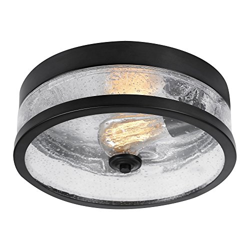 Shade Flush Bronze - Globe Electric 69999 Carolina Light Flush Mount, Dark Bronze with Seeded Glass Shade,