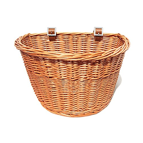 Colorbasket 01563 Adult Front Handlebar Wicker Bike Basket, Leather Straps, Natural (Willow Bike Baskets)