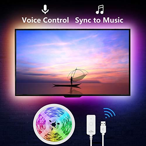 NiteBird Smart TV Backlight Work with Alexa Google Home,Sync to Music WiFi LED TV light 9.2Ft Kit for 32
