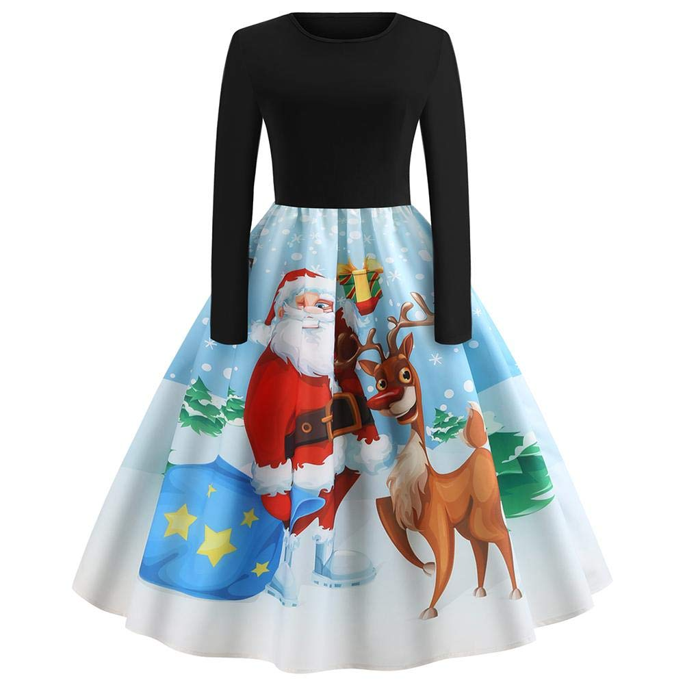 Missbee Halloween Christmas Dress Vintage Printing Long Sleeve Flare Dress With Elk Santa Claus Deer Christmas Costumes Print Skirt