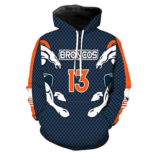 a04ede3a Men's Hooded Long Sleeve 3D Digital Print Denver Broncos NFL Football Team  Pullover Hoodies(XXL,Blue)