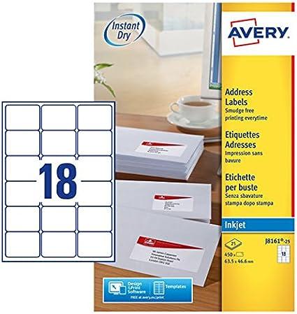 Avery España J8163-25 - Pack de 25 folios de etiquetas para envíos, 99.1 x 38.1 mm, color blanco: Amazon.es: Oficina y papelería