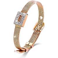 Menton Ezil Belt Shape Rose Gold Bangle Bracelet