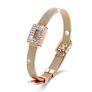 "❄Christmas Gifts❄ Menton Ezil 7"" Belt Shape Luxury Milanese Mesh Woven Rope Chain Gold Tone Swarovski Crystal Bangle Bracelets Buckle Clasp"