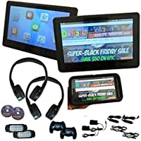 [PAIR] Autotain EDGE 10.1 inch [TOUCH SCREEN] Slim Active Headrest Monitor DVD Player + HDMI, + 1080P, + Home Power Cables, + Cloud Headphones