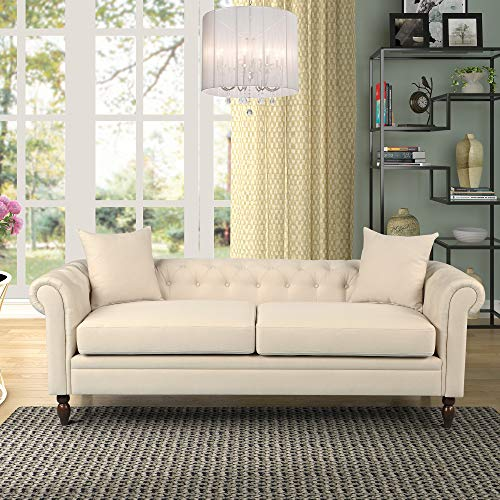 Harper&Bright Designs Loveseat Couch Linen Fabric Chesterfield Tufted Sofa with Scroll Arms and 2 Pillows Sofa Couches for Living Room (Beige) (Linen Chesterfield)