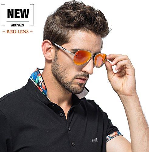 ATTCL Marco Metal Súper Gafas Sol Ligero Mg Al Hombres Rojo De De Polarizadas rncWxqwrSg