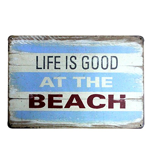 Life Is Good At Beach Metal Sign Tin Signs Retro Shabby Wall Plaque Metal Poster Plate 20x30cm Wall Art Coffee Shop Pub Bar Home Hotel Decor
