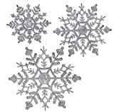 "Silver Glitter Snowflakes - 36 Assorted Sized Snowflake Ornaments - 12 each of 4"", 5"" inch, 6"" Diameter"
