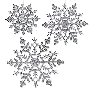Silver Glitter Snowflake Ornaments 36 Assorted Sizes - A nice set for DIY projects to add sparkle to any holiday Christmas table setting, gift toppers, hang from chandeliers, wrap banister or string across the mantle