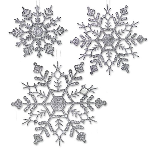 Silver Glitter Snowflakes - 36 Assorted Sized Snowflake Ornaments - 12 each of 4'', 5'' inch, 6'' Diameter by Banberry Designs