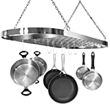 Sorbus Pot and Pan Rack for Ceiling with Hooks — Decorative Oval Mounted Storage Rack — Multi-Purpose Organizer for Home, Restaurant, Kitchen Cookware, Utensils, Books, Household (Hanging Chrome)