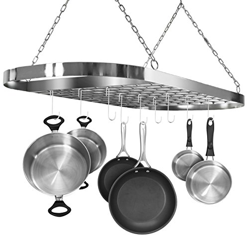 - Sorbus Pot and Pan Rack for Ceiling with Hooks - Decorative Oval Mounted Storage Rack - Multi-Purpose Organizer for Home, Restaurant, Kitchen Cookware, Utensils, Books, Household (Hanging Chrome)
