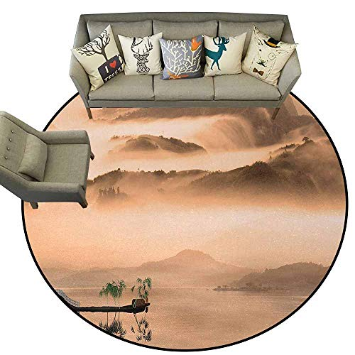 (Art,Non-Slip Bath Hotel Mats D40 Chinese Lake Landscape Before Majestic Foggy Mountains in Mist Clouds Dramatic Hill View Carpet Flooring Peach )