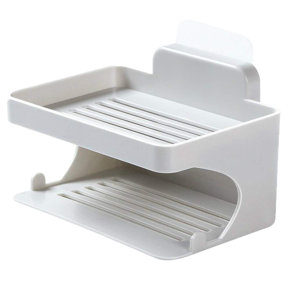 Longay Double Deck Soap Rack Bathroom Trace Free Viscose Soap Drip Rack No Perforation (Gray)