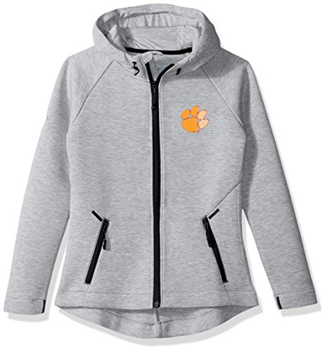 Levelwear LEY9R NCAA Clemson Tigers Adult Women Motion Insignia Full Zip Hooded Jacket, X-Large, Heather Pebble