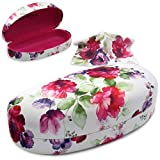 Sunglasses case and eyeglasses case | Medium Large | Women | Hard Metal | Clam-shell | (AS113 Cranberry Rose)