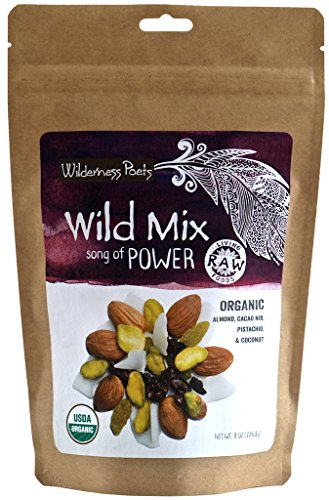 Wilderness Poets Song Of Power Trail Mix (Almonds, Pistachios, Sweetened Cacao Nibs, Golden Raisins, Coconut Flakes) Organic & Raw - 8 oz