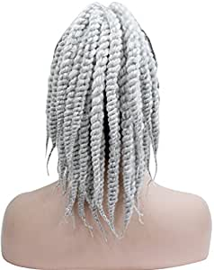 Kalyss Long Afro Kinky Curly Crochet Twists Braids Ponytail Hair Extension Synthetic HairPiece with Jaw Claw Clip (Grey)