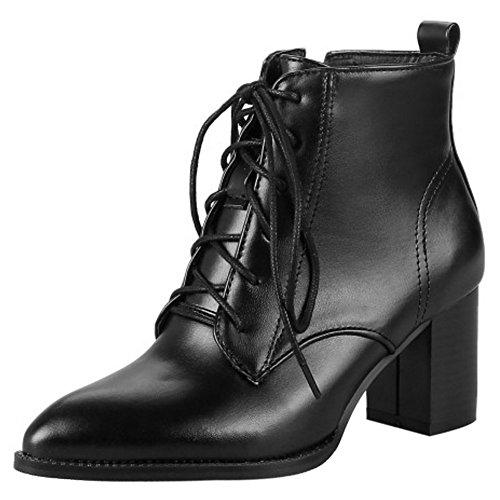 Zip Plus Size Stiefel With Schnurung COOLCEPT Blockabsatz Damen Elegant Black Ankle qxHt4TR