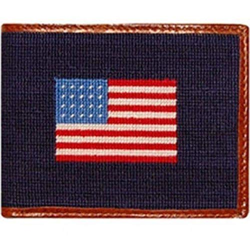American Flag Needlepoint Wallet in Navy by Smathers & - Needlepoint Flag