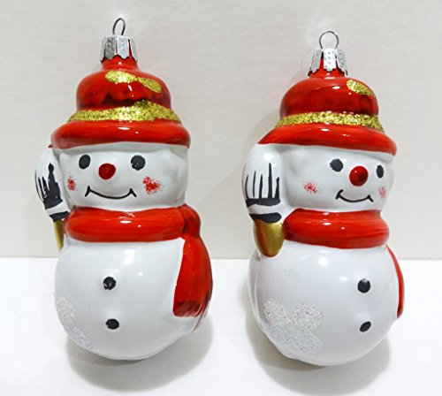 Vintage Christmas Classics Hand Painted Glass Snowman Ornaments By European Craftsman