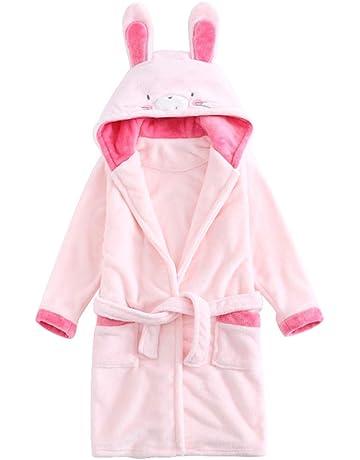 ABClothing Niños Niñas con Capucha Espesar Albornoz Niños Conejito y Oso Pijamas (Tamaño 2 Niño