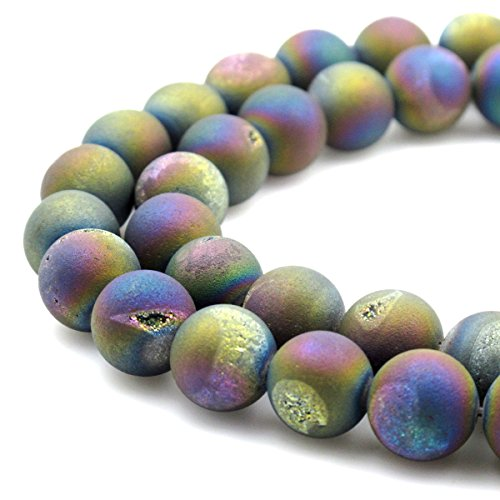 BRCbeads Gorgeous Natural Multicolor Durzy Agate With Coating Gemstone Round Loose Beads 14mm Approxi 15.5 inch 25pcs 1 Strand per Bag for Jewelry Making