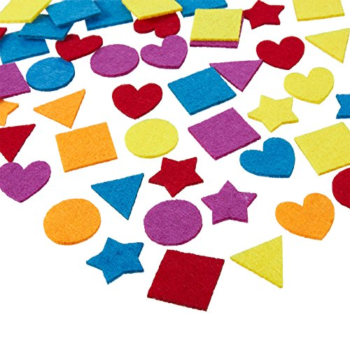 Juvale Felt Embellishments - 1000-Pack Felt Shapes, Heart, Star Geometric Design, Felt Ornaments Craft Projects, Assorted Colors